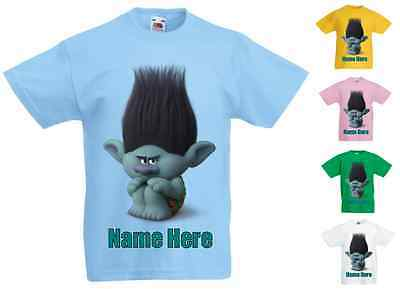 Childrens Kids Personalised Printed T-Shirt Various Colours - Trolls Branch