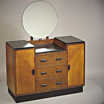 Dressing Chest - Art Deco, Oak & Black, 1930s (delivery available)