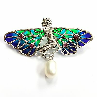 Art Nouveau Style Plique A Jour Fairy Red Ruby Pearl Brooch 925 Sterling Silver