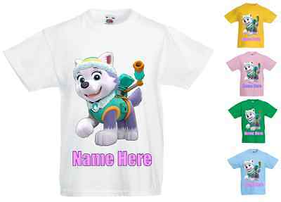 Childrens Kids Personalised Printed T-Shirt Various Colours - Paw Patrol Everest