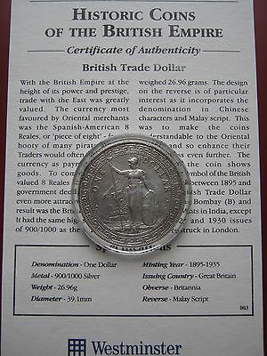 British Colonial 1911 Trade Silver Dollar with Westminster COA in good grade