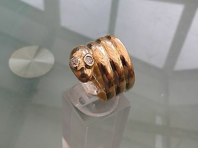 Victorian 18Ct Gold Diamond Coiled Snake Ring 1850