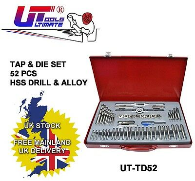 52 Piece Tap and Die Set Strong HSS Drill Alloy Construction with Red Case