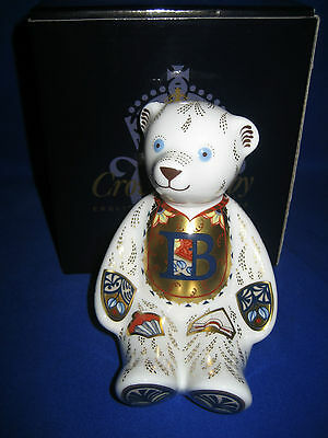 """Royal Crown Derby""""alphabet Bear B"""" Paperweight Gold Stopper Boxed"""