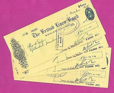 Fabulous Yellow Vintage Used Cheques-British Linen Bank-Northumberland-1950s