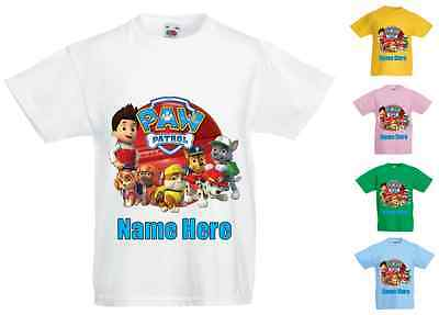 Childrens Kids Personalised Printed T-Shirt Various Colours - Paw Patrol