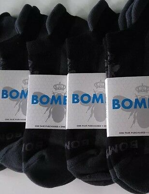 BOMBAS Boys Black Ankle Socks, 4 Pair,  AS SEEN On Shark Tank