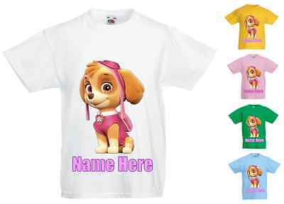 Childrens Kids Personalised Printed T-Shirt Various Colours - Paw Patrol Skye