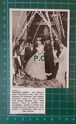 C47) Miss Norma Cappagli Miss World Firemen Godmother Buenos Aires  - 1961 Clip