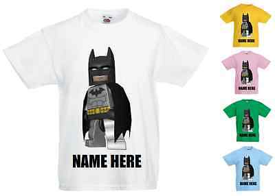 Childrens Kids Personalised Printed T-Shirt Various Colours - Lego Batman