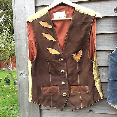 Vintage Suede Leather Waistcoat Ethnic Style / Cowboy Sz UK 10 36Inch Chest By
