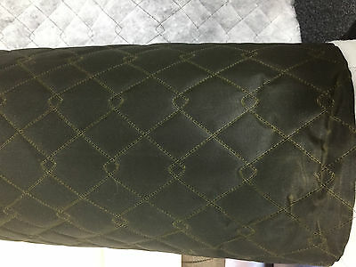 QUILTED FABRIC Waxed Cotton Canvas Fabric OLIVE British Manufactured Clothing