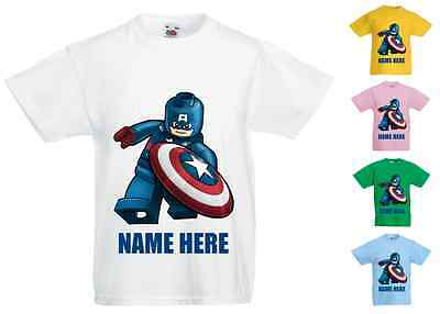 Childrens Kids Personalised Printed T-Shirt Various Colours Lego Captain America