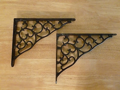 "Cast Iron Shelf brackets 7"" X 9"" art nouveau circa 1900's. NICE!"