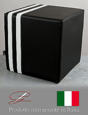 Pouff Pouf Puff Cubo Eco-Pelle Juve Juventus Bianconero Calcio Made In Italy