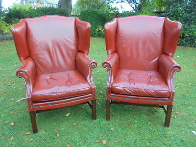 Good Pair AntiqueMahogany & Leather Wing Armchairs Library Chairs