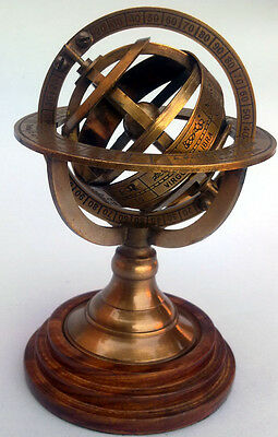 "Brass Armillary Sphere / Nautical Decor Globe 5"" Nautical Brass Compass"