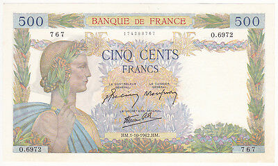 FRANCE - billet de 500 FRANCS LA PAIX du 1-10-1942 - NEUF (2 scan)