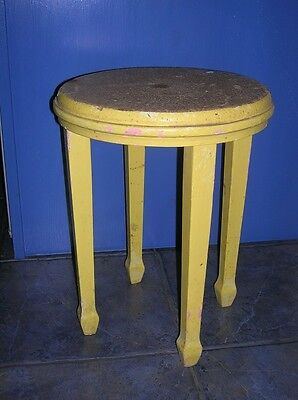 Vintage 1950's 60's Wooden CORK Topped Bathroom STOOL Solid Wood 15.75ins Table