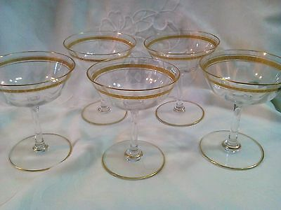 FIVE TIFFIN CRYSTAL Gold Encrusted Optic  6oz  Champagne GLASSES STEMS EUC!!!