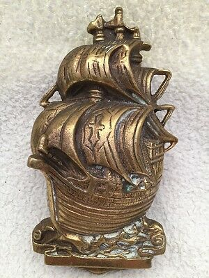 Very Large Vintage Heavy Brass Galleon Ship Door Knocker