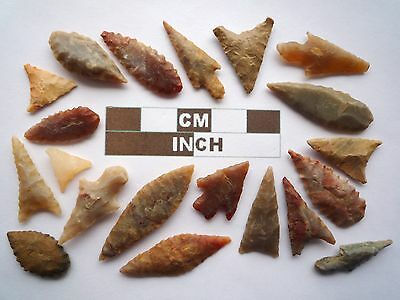 Neolithic Arrowheads x 20, High Quality Selection of Styles - 4000BC - (Z131)