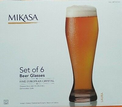 Mikasa Laura Beer Glasses 6 Piece Set Cups 660 ml x 6 cups Glass Euro Crystal