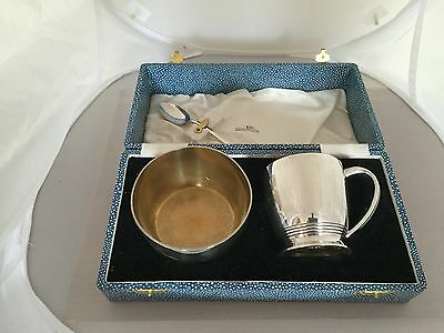 Loveky Three Piece Christening Set. Mug, Bowl And Spoon In A Blue Faux Case