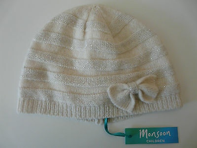 New Monsoon Baby Girl Ivory Silver Striped Bow Wool Beanie Hat Size 1-3 Years