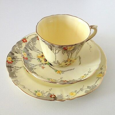 Crown Staffordshire Hand Painted Trio Vintage Art Deco 1920's-30's Yellow Floral