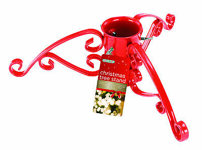 "Gardman 4"" Christmas Tree Stand Red Sparkle Xmas Holder Hanger Stable Strong"