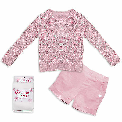 Chloe Louise Girls 3 Piece Winter Clothing Set in Pink Jumper Shorts Tights