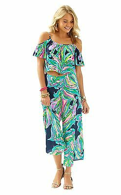 1f51bb89be LILLY PULITZER POSY GAUCHO PANT & CROP TOP SET Bright Navy Dont Leave Me  Hanging