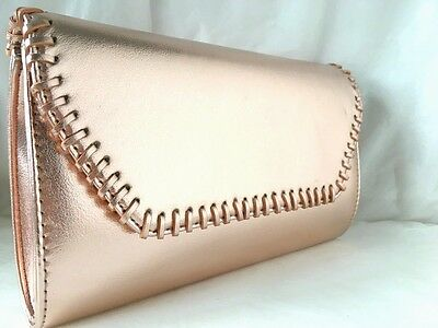 New Rose Gold Champagne Faux Leather Evening Day Clutch Bag Club Prom Xmas Party