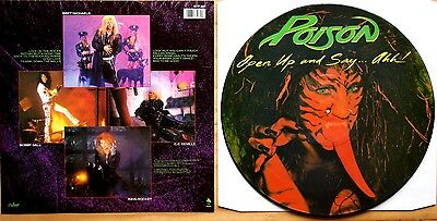 Ex/ex! Poison Open Up And Say.. Ahh! Vinyl Picture Pic Disc Lp + Insert