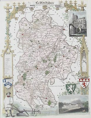 OLD ANTIQUE MAP BEDFORDSHIRE by T MOULE c1840's VIEWS BEDFORD WOBURN ENGRAVING