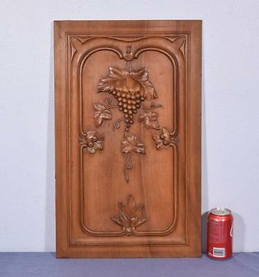 *French Antique Carved Architectural Panel in Walnut Wood with Grapes