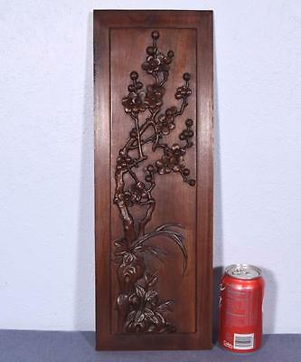 *Antique Deeply Carved Asian Panel Door Solid Mahogany w/Cherry Blossoms