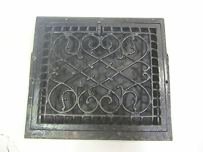Vintage Old Victorian Cast Iron Wall Heat Vent  16 Inch x 14 1/2 Inch    (1)