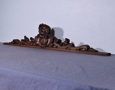 "*46"" French Antique Pediment/Crest in Walnut Wood with Monogram"