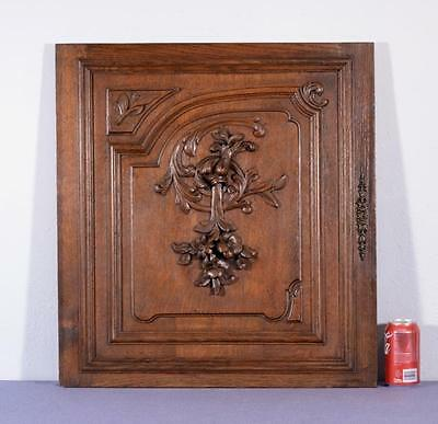 *French Antique Carved Architectural Door Panel Oak Wood Art Nouveau Flowers 1