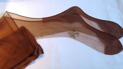 1940's Nylon Stockings ~Hand Painted Flowers and Contrast Seams 9M ~  Very Rare