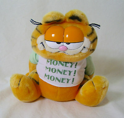 RARE GARFIELD PLUSH Soft Toy MONEY BOX ORIGINAL VINTAGE 1978 DAKIN 30cm ..F