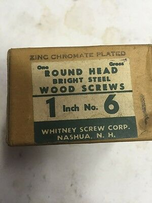 Vintage Whitney  #6 X 1 Inch Round Head slotted Steel  Wood Screws 144 per box