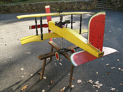 "HUGE FOLK ART WHIRLIGIG JOE McFALL (Amer.) Red Baron/Watermelon 55"" x 42"" x 48"""