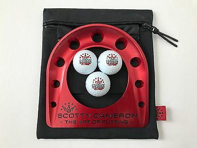 2016 Scotty Cameron Putting Cup Kit 7 Point Crown Red w/ 3 Logo Balls and Bag