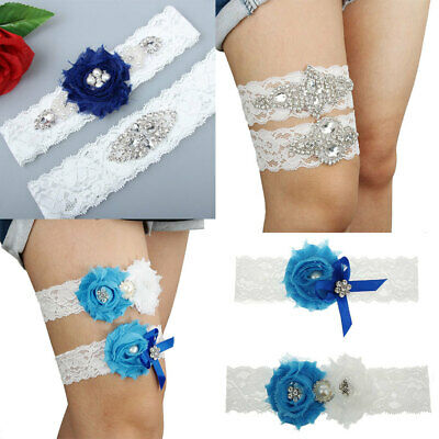 Handmade White Shabby Flower and Clear Rhinestones Lace Wedding Bride Garter Set