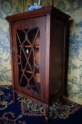 Unusual Antique Fretwork Glass Fronted Cabinet