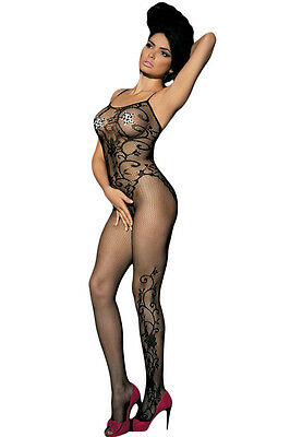 FLORAL TATTOO HOT S M L XL 8 10 12 14 Bodysuit Catsuit Bodystocking Lingerie