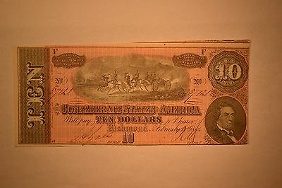 February 17, 1864 Confederate $10 Note- Attractive Uncirculated Note